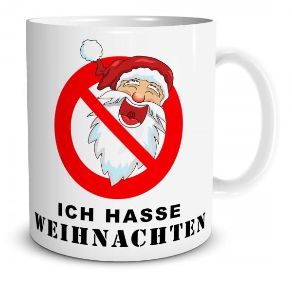"""Tasse mit Verbotsschild und Spruch """"Ich hasse Weihnachten"""""""