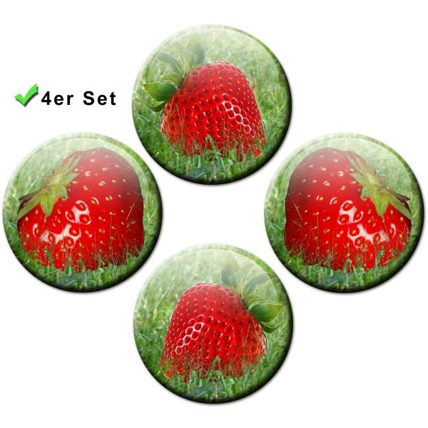 Magnete 4er-Set Erdbeeren - Ø 5 cm