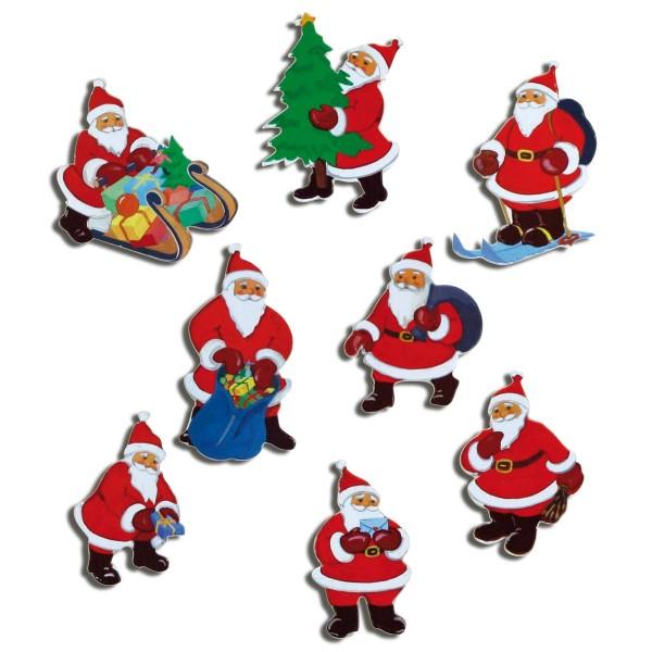 Magnete 8er-Set Weihnachtsmänner