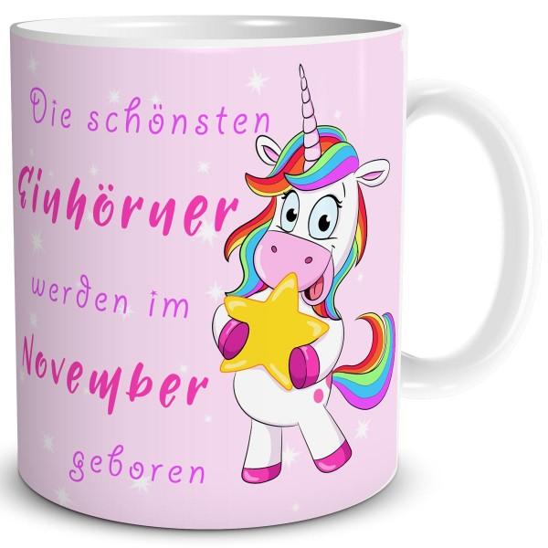 Die schönsten Einhörner November, Einhorn Tasse 300 ml, Rosa