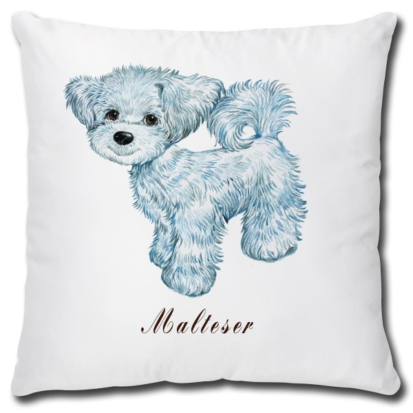 Malteser Hund, Kissen 40x40 cm