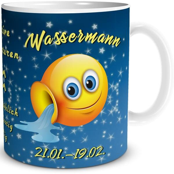 Sternzeichen Wassermann Smiley, Tasse 300 ml