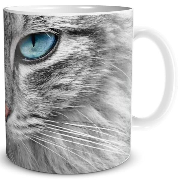 Katze Grey Cat Blue Eyes, Tasse 300 ml, Grau