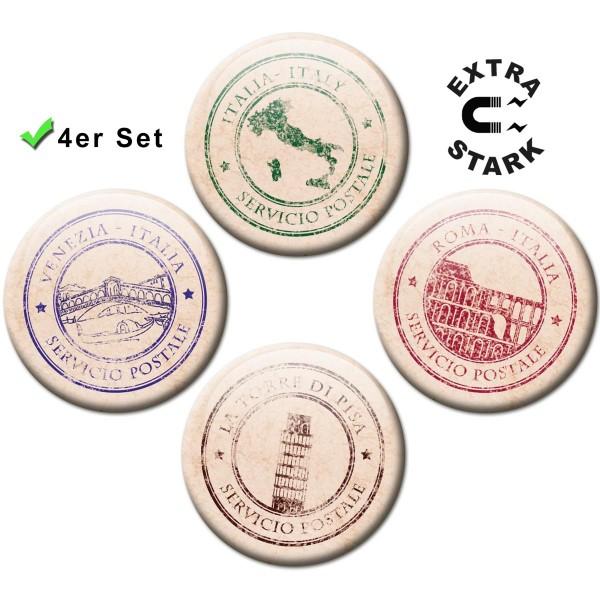 Magnete für Glasmagnettafel 4er-Set Poststempel Italien - Ø 5 cm