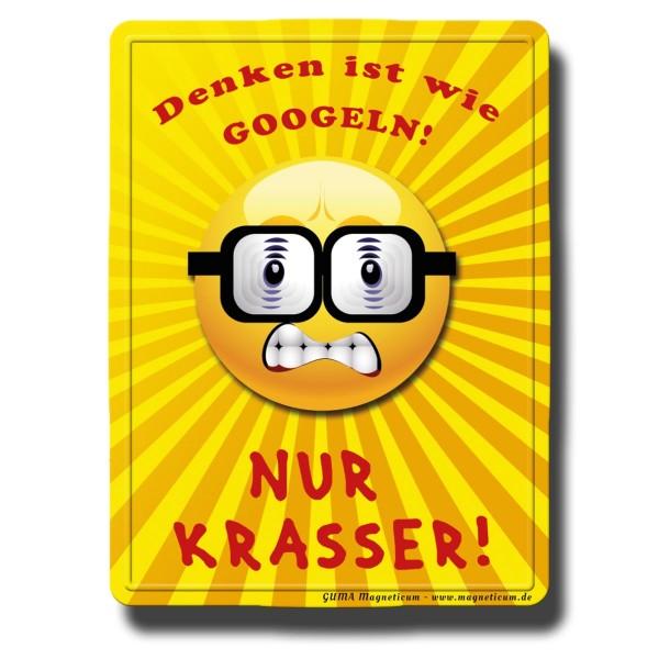 Smiley Google Nerd, Magnet 8x6 cm