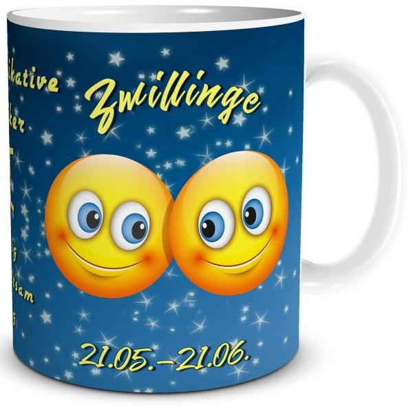 Sternzeichen Zwillinge Smiley, Tasse 300 ml