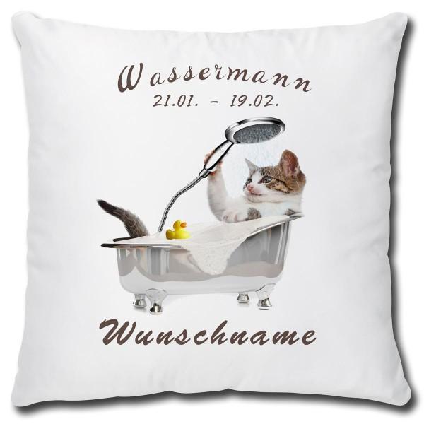 Sternzeichen Wassermann Katze, Kissen 40x40 cm personalisiert