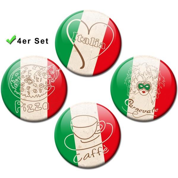 """Magnete 4er-Set Länderflaggen Italien """"Amore"""" - Ø 5 cm"""