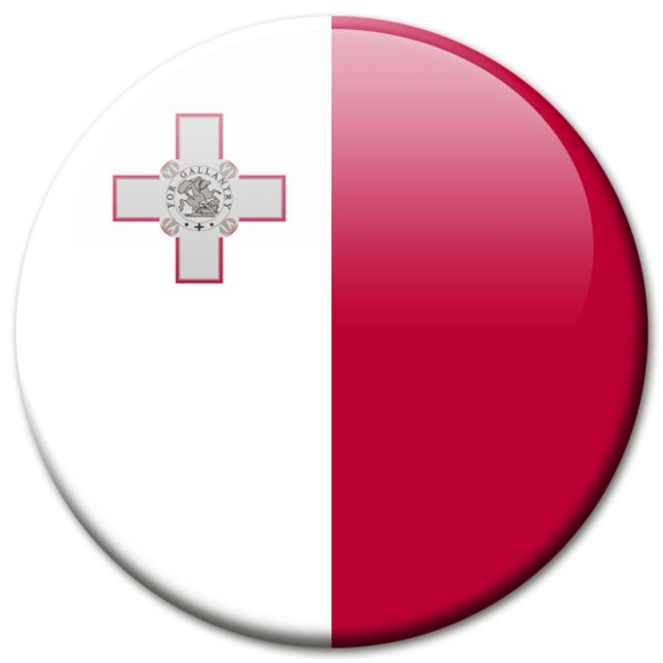 Flagge Malta, Magnet 5 cm