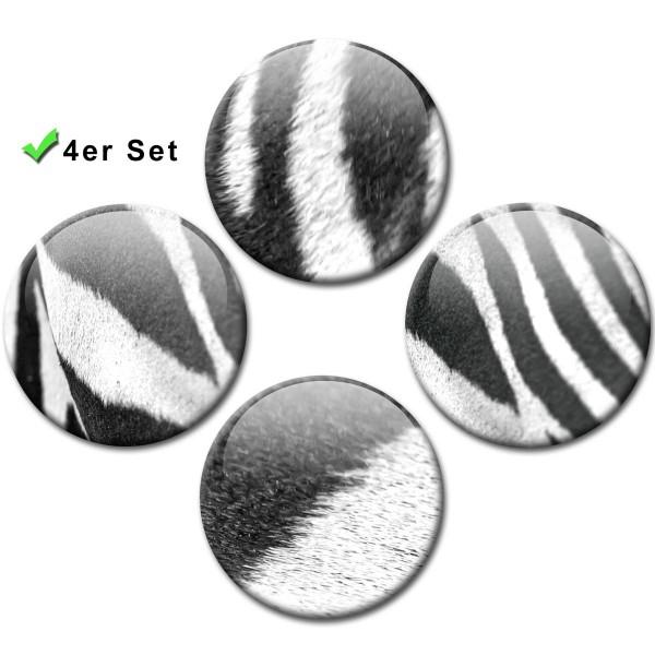 Magnete 4er-Set Zebra Muster - Ø 5 cm