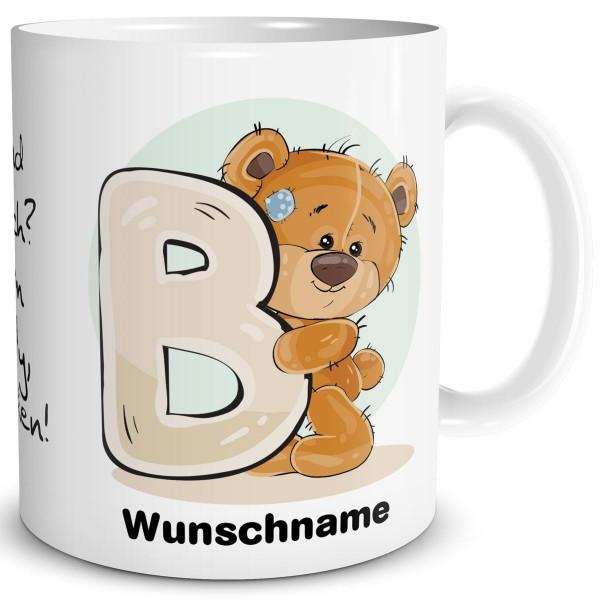 Teddy Bär B mit Wunschname, Tasse 300 ml, Weiß
