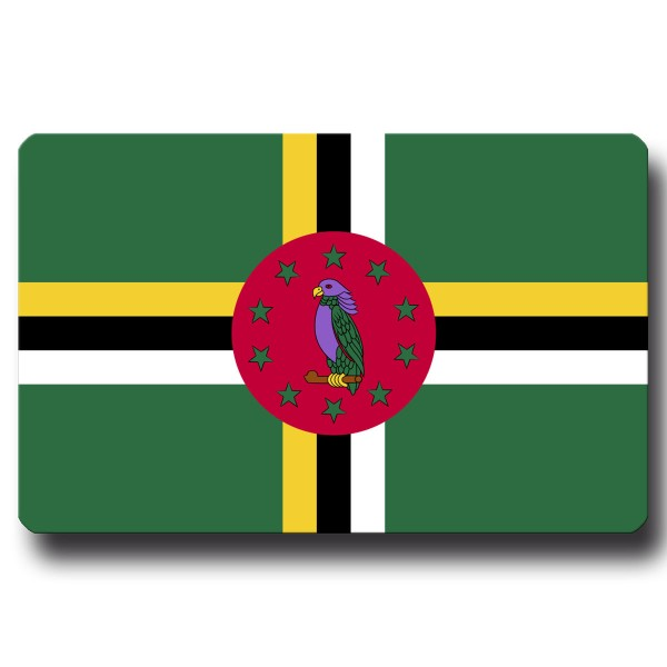 Flagge Dominica, Magnet 8,5x5,5 cm