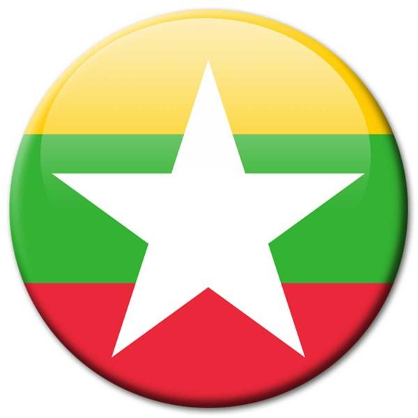 Flagge Myanmar, Magnet 5 cm