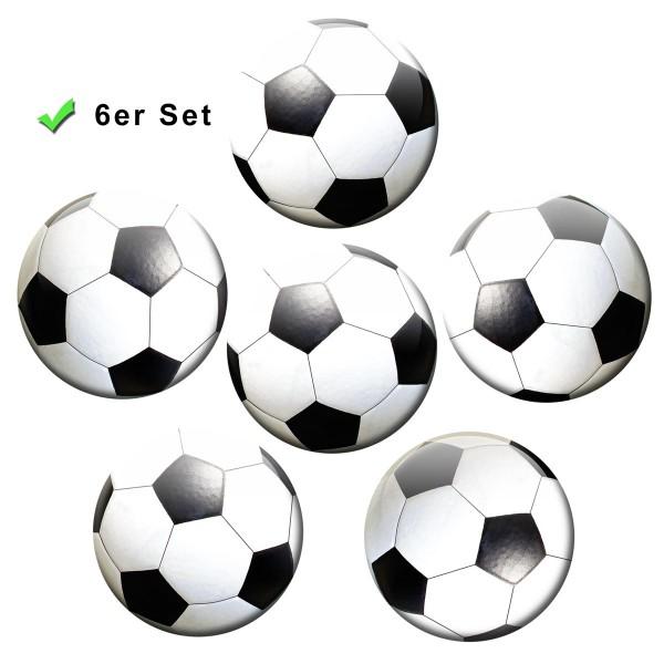 Fußball, Kühlschrankmagnete 6er-Set Ø 5 cm