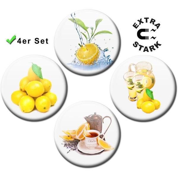 Magnete für Glasmagnettafel 4er-Set Zitronen - Ø 5 cm