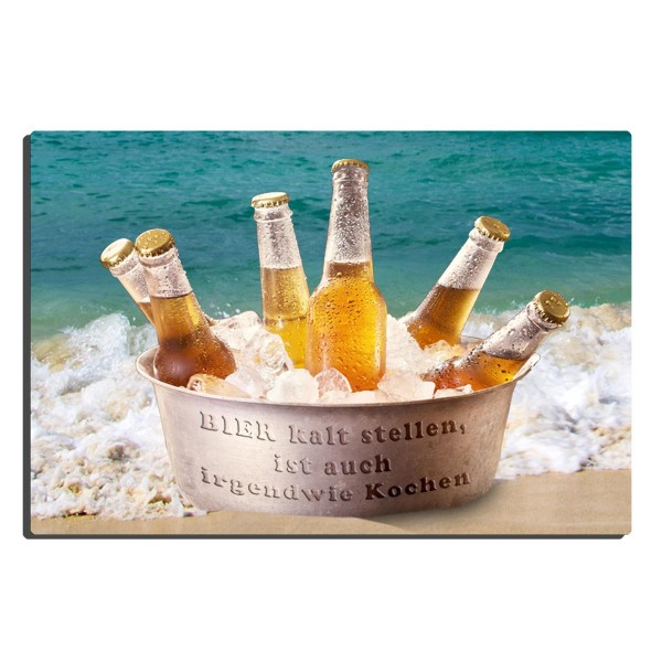 Bier kaltstellen, Blechschild 20x30 cm