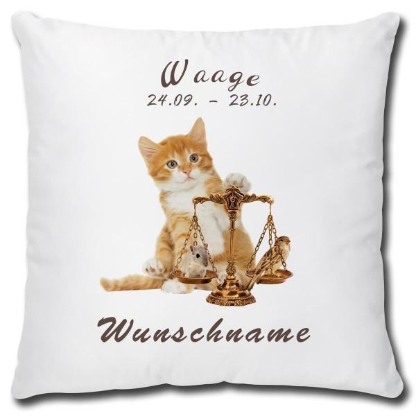 Sternzeichen Waage Katze, Kissen 40x40 cm personalisiert