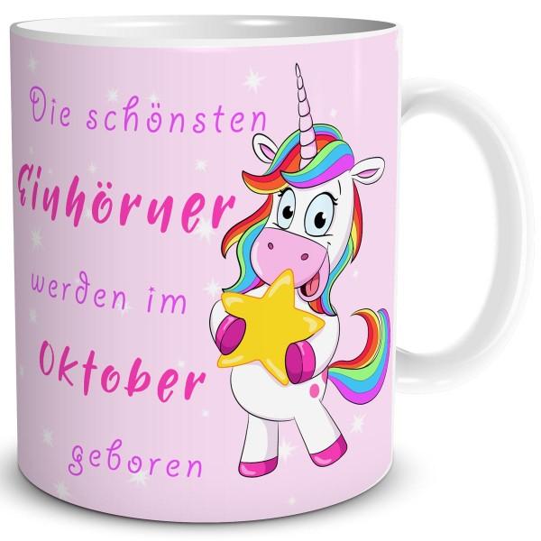 Die schönsten Einhörner Oktober, Einhorn Tasse 300 ml, Rosa