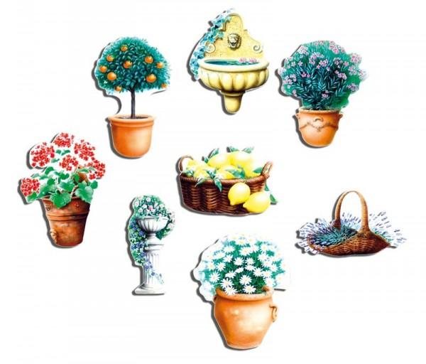 Magnete 8er-Set Blumentöpfe