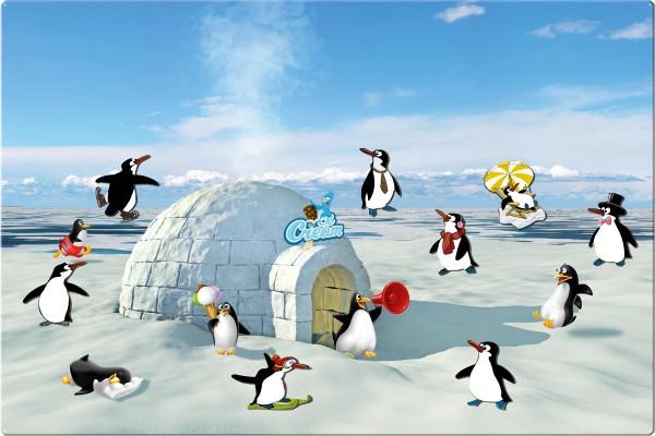 Magnettafel 60 x 40 cm Pinguin Eisparty inkl. 8 Magnete Pinguine