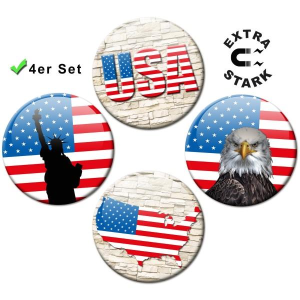 Magnete für Glasmagnettafel 4er-Set Länderflaggen USA Wall - Ø 5 cm