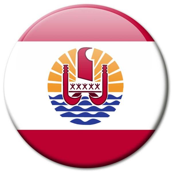 Flagge French Polynesia, Magnet 5 cm