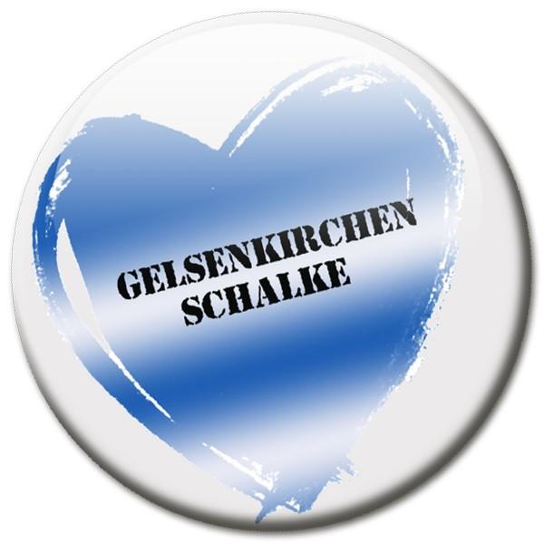 Fan Magnet Stadt Gelsenkirchen Schalke mit Herz - Ø 5 cm
