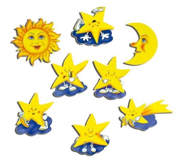 Magnete 8er-Set Sonne, Mond und Sterne