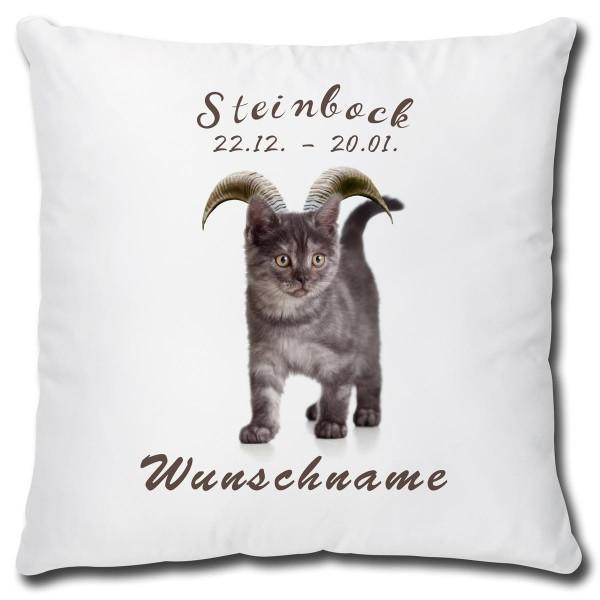 Sternzeichen Steinbock Katze, Kissen 40x40 cm personalisiert