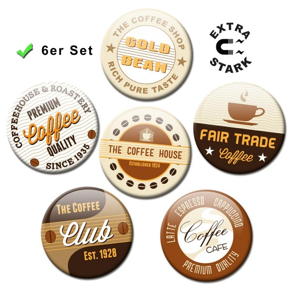 Kaffee Label, Glasmagnettafel Magnete 6er-Set Ø 5 cm