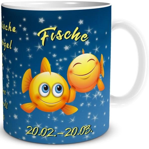 Sternzeichen Fische Smiley, Tasse 300 ml