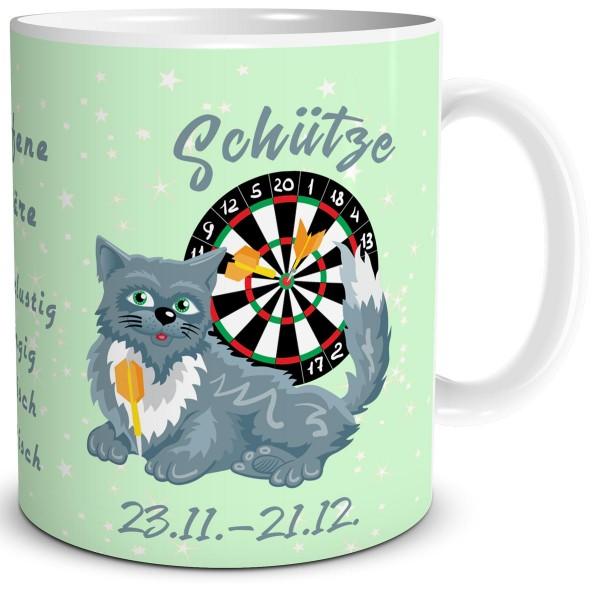 Sternzeichen Schütze Katze Cartoon, Tasse 300 ml