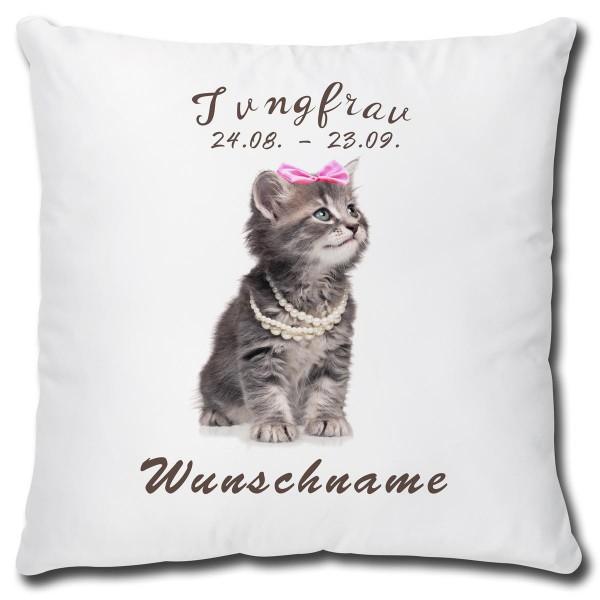 Sternzeichen Jungfrau Katze, Kissen 40x40 cm personalisiert