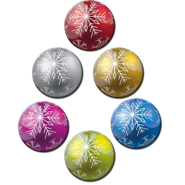Weihnachtsbaumkugel Bunt, Kühlschrankmagnete 6er-Set Ø 5 cm