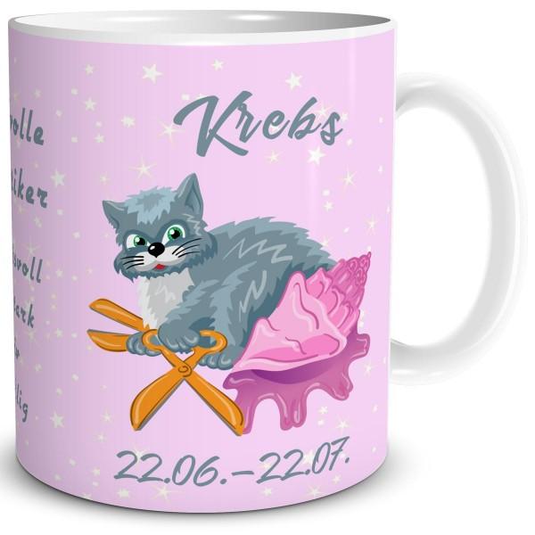 Sternzeichen Krebs Katze Cartoon, Tasse 300 ml