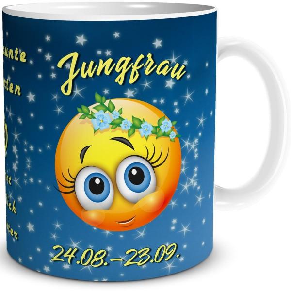 Sternzeichen Jungfrau Smiley, Tasse 300 ml