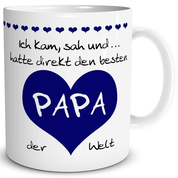 """Papa Herz """"Bester der Welt"""" Tiefblau, Tasse 300 ml"""