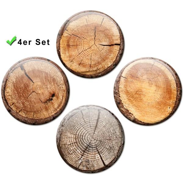 Magnete 4er-Set Baumstammscheiben Optik - Ø 5 cm