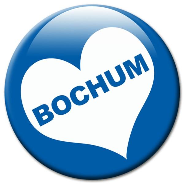 Fan Magnet Stadt Bochum mit Herz Blau-Weiß - Ø 5 cm