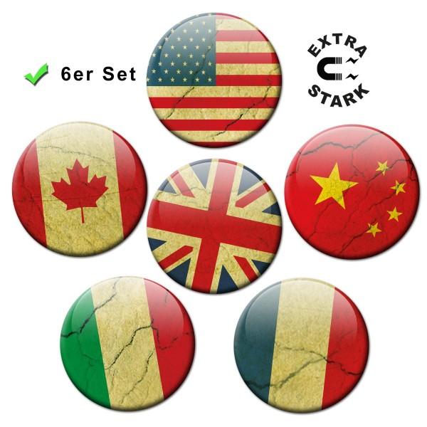 Länderflagge Grungelook, Glasmagnettafel Magnete 6er-Set Ø 5 cm