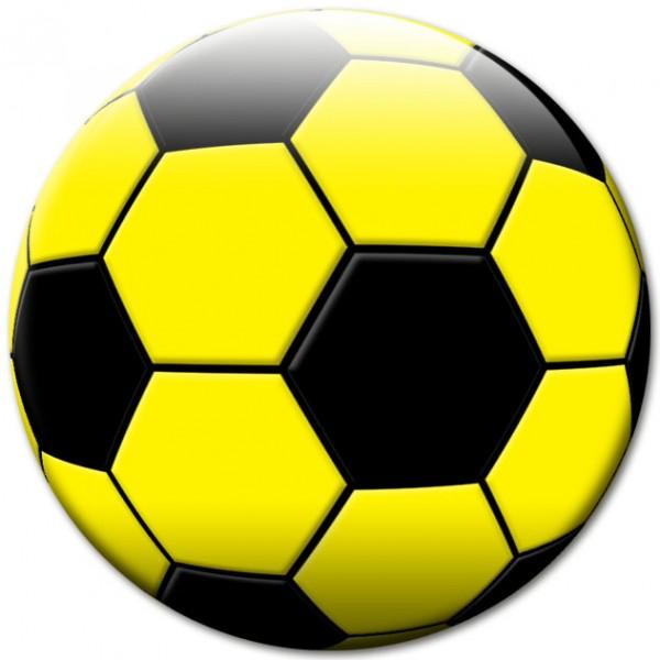 Magnet Fußball Schwarz-Gelb - Ø 5 cm