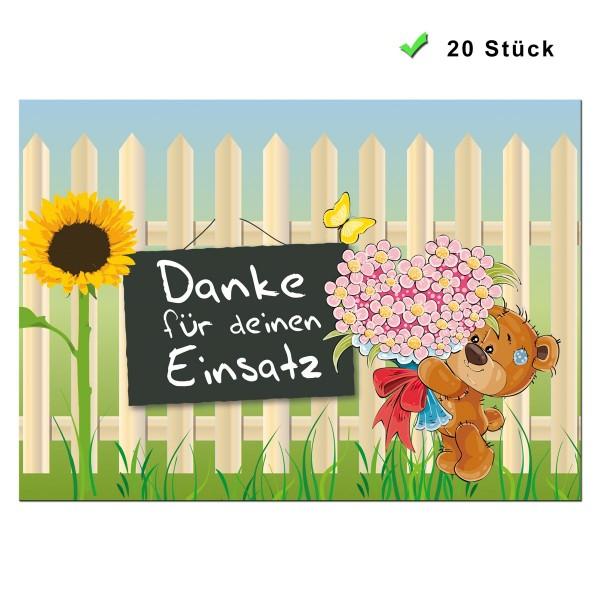 Postkarte 20 Stück Dankesspruch Bären Einsatz - Bunt