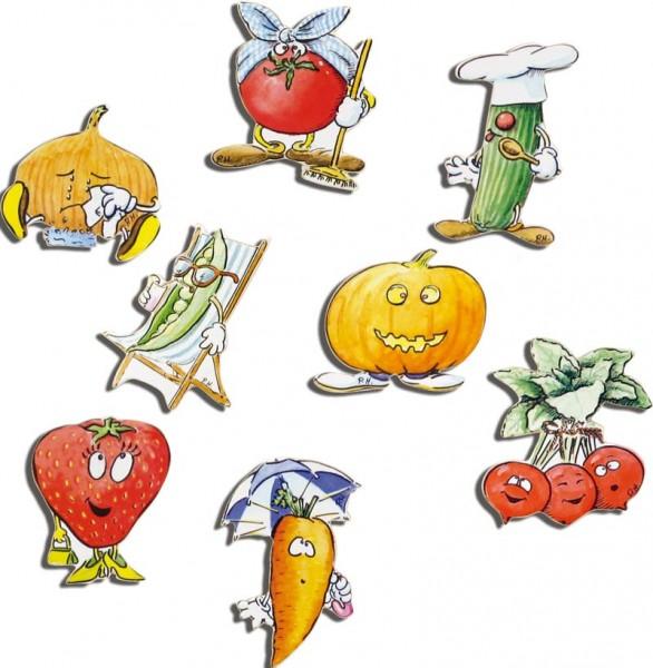 Magnete 8er-Set Obst & Gemüse