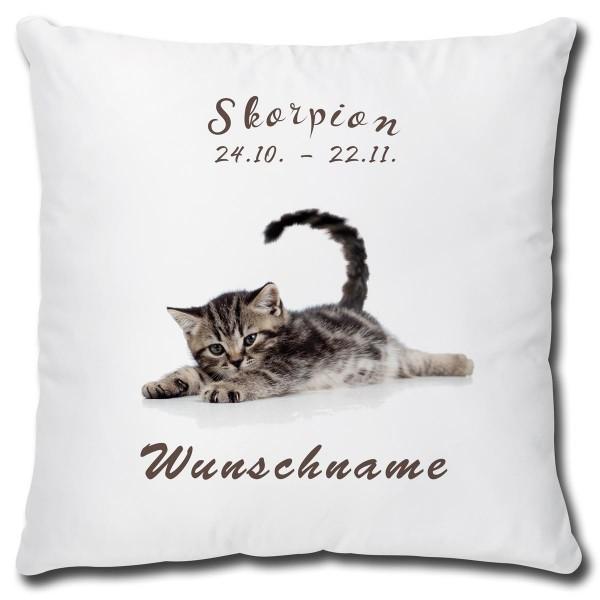 Sternzeichen Skorpion Katze, Kissen 40x40 cm personalisiert