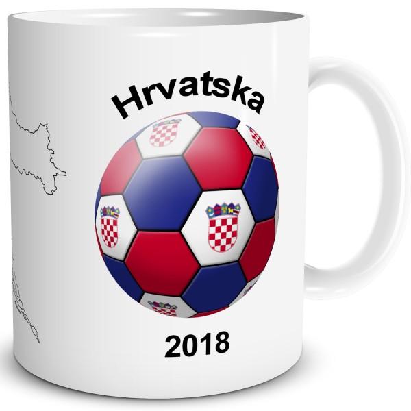 Fußball Flagge Kroatien, Tasse 300 ml