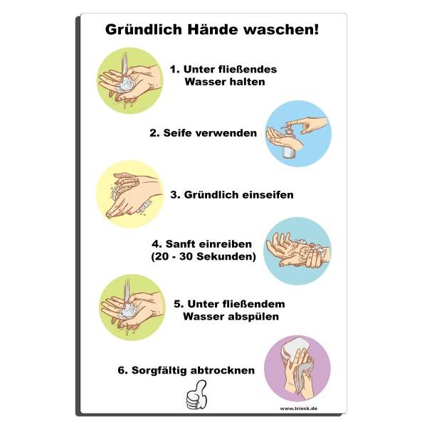 Hände gründlich waschen, Blechschild 30x20 cm