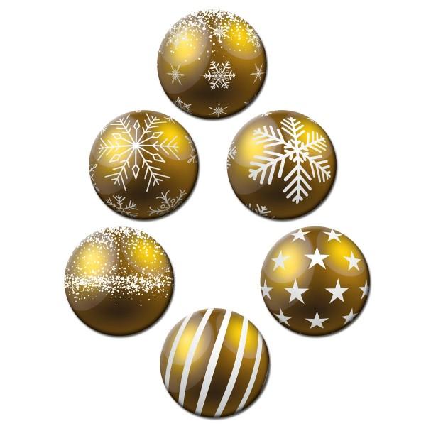 Weihnachtsbaumkugel Gold, Glasmagnettafel Magnete 6er-Set Ø 5 cm