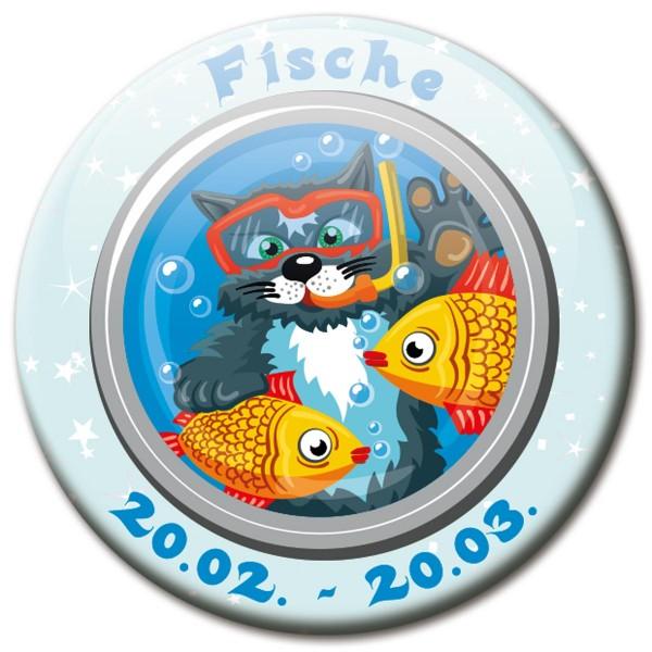 Magnet Katze - Sternzeichen Fische - Ø 5 cm