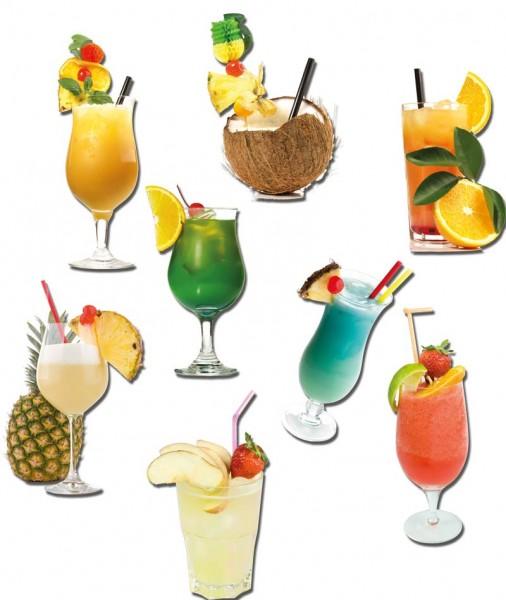 Magnete 8er-Set Karibische Cocktails