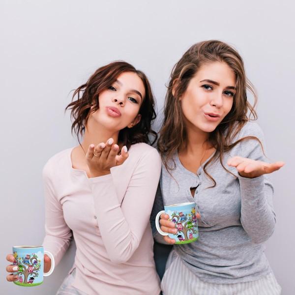 Kaffeetasse Eulen-Baum